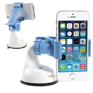 Blue 360 Rotation Universal Clip Car Suction Cup Mount Holder for iPhone Samsung Sony LG / GPS / PDA Etc