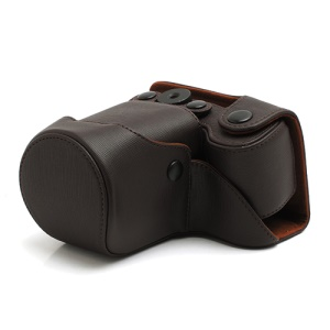 Cross Grain Leather Case Bag for Sony NEX-F3 Camera 16mm 18-55mm - Brown