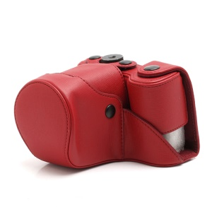 Cross Grain Leather Case Bag for Sony NEX-F3 Camera 16mm 18-55mm - Red