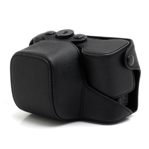 Cross Grain Leather Case Bag with Strap for Sony NEX-6 - Black