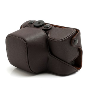 Cross Grain Leather Case Bag with Strap for Sony NEX-6 - Brown