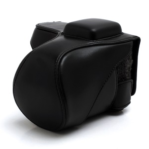 Leather Camera Bag Case for Sony NEX-5C NEX-5N NEX5N NEX-5 NEX5 18-55mm 16mm - Black