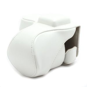 Leather Camera Bag Case for Sony NEX-5C NEX-5N NEX5N NEX-5 NEX5 18-55mm 16mm - White