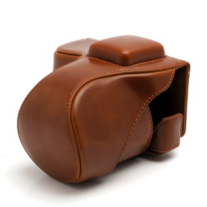 Leather Camera Bag Case for Sony NEX-5C NEX-5N NEX5N NEX-5 NEX5 18-55mm 16mm - Brown