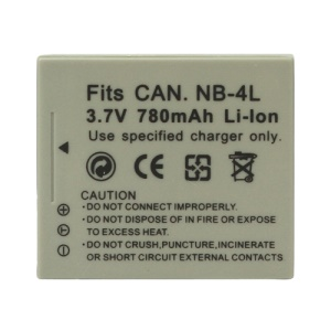 NB-4L Battery for Canon Digital IXUS 55 60 65 70 75 80 3.7V 780mAh