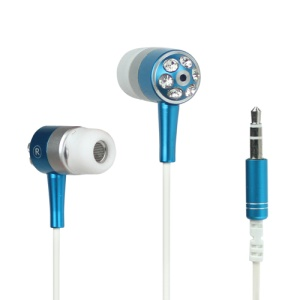 Diamond Stereo Earphone Headset Headphone for iPhone iPod MP3 MP4 Player and etc - Blue