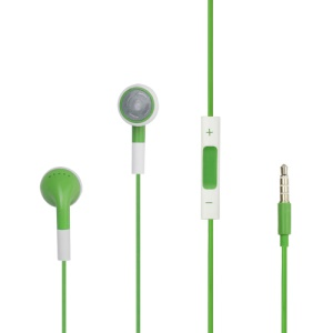 iPhone 4S Stereo Headphones with Mic Volume and Control (Round Earbuds) - Green