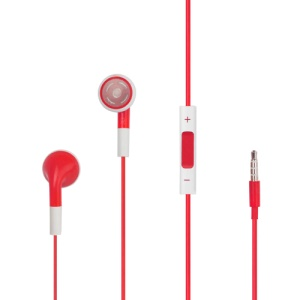iPhone 4S Stereo Headphones with Volume Control and Mic - Red
