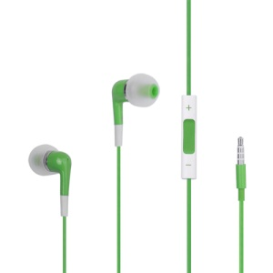 Stereo In-Ear Headphones with Volume Control and Mic for iPhone 4S - Green