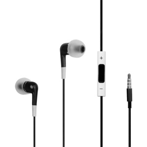 Stereo In-Ear Headphones with Volume Control and Mic for iPhone 4S - Black