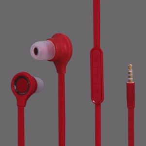 3.5MM Stereo Plug In-Ear Earphone Headphone Headset with Mic ControlTalk for HTC For Samsung Series - Red