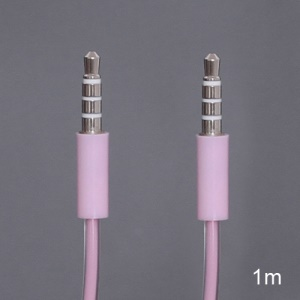 Double Layer 3.5mm Male to Male Stereo Aux Audio Cable for iPhone iPod MP3 - Pink