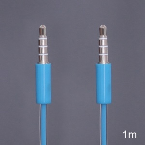 Double Layer 3.5mm Male to Male Stereo Aux Audio Cable for iPhone iPod MP3 - Blue