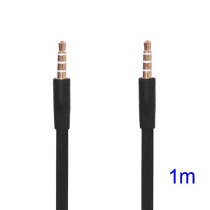 Noodle-shaped 3.5mm Male to 3.5mm Male Stereo Aux Audio Cable, Length: 1M - Black
