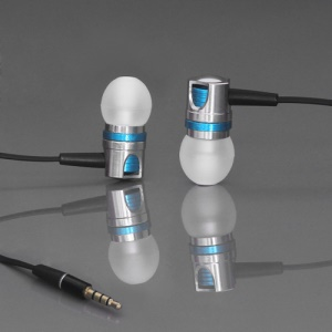 Metallic Earbuds with Mic for iPhone Samsung HTC BlackBerry etc WHF-109 - Silver / Blue