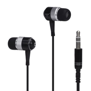 Metallic In-ear Headphones for iPod iPad MP3 CD etc - Silver / Black