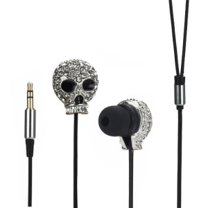 Metal Skull Swarovski Crystal In-Ear Headphone for iPod iPad MP3 CD etc - Silver