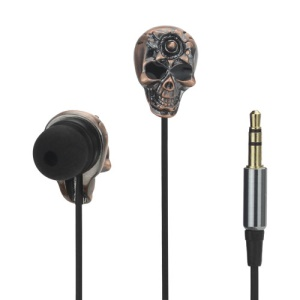 3.5MM Metal Skull In-ear Earphone Rock &amp;amp; Roll Style for iPhone 5 4S HTC Samsung i9300 Galaxy S 3 LG Sony Nokia etc - Brown