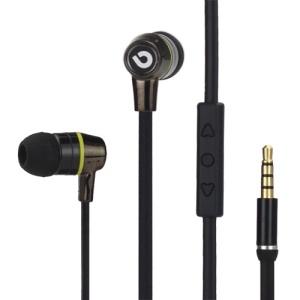 Bidenuo G360 In-Ear Noodle Handfree Earphone Headset w/Remote Mic for iPhone iPad iPod - Black / Yellow