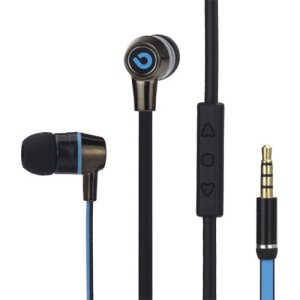 Bidenuo G360 In-Ear Noodle Handfree Earphone Headset w/Remote Mic for iPhone iPad iPod - Black / Blue