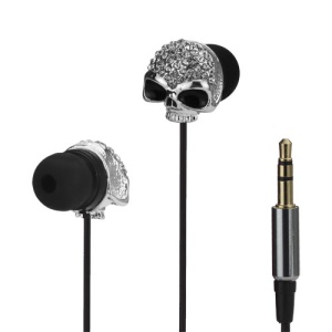 3.5mm Rhinestone Skull In-ear Earbud Earphone for iPhone iPad iPod HTC Samsung i9300 Galaxy S 3 LG Sony - Silver