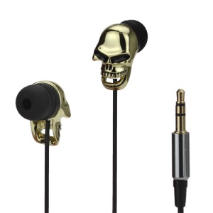 Cool Skull 3.5mm In-ear Stereo Earphone Headset for iPhone iPad iPod Samsung HTC LG Sony - Gold