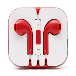 3.5mm Stereo Earphone Headset with Remote & Mic for iPhone 5 - Red