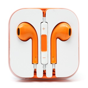 3.5mm Stereo Earphone Headset with Remote &amp;amp; Mic for iPhone 5 - Orange