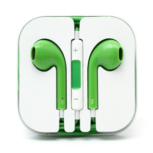 3.5mm Stereo Earphone Headset with Remote & Mic for iPhone 5 - Green