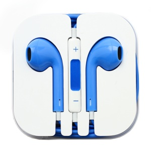 3.5mm Stereo Earphone Headset with Remote &amp; Mic for iPhone 5 - Blue
