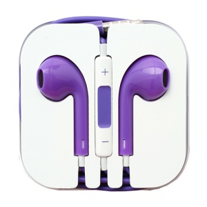 3.5mm Stereo Earphone Headset with Remote &amp; Mic for iPhone 5 - Purple