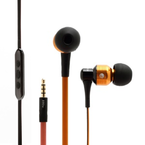 AWEI S50vi Flat Noodle Smart In-ear Earphones Headphones with Remote Mic for iPhone 5 / 4S / 4 For iPad For iPod - Orange