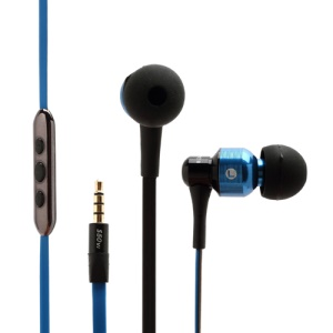 AWEI S50vi Flat Noodle Smart In-ear Earphones Headphones with Remote Mic for iPhone 5 / 4S / 4 iPad iPod - Blue