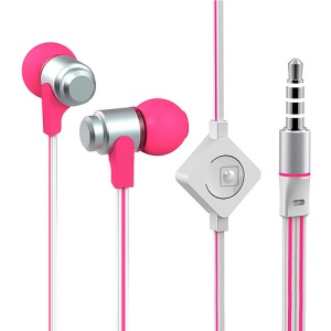 Wallytech WHF-116 Noodle Shaped In-Ear 3.5mm Metal Earbud Earphone Headset with Mic - Silver / Rose