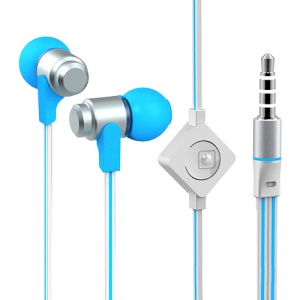 Wallytech WHF-116 Noodle Shaped In-Ear 3.5mm Metal Earbud Earphone Headset with Mic - Silver / Blue