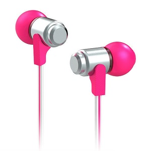 Wallytech WEA-116 Flat 3.5mm In-Ear Earphone Headphone for iPhone iPad iPod Samsung LG HTC - Silver / Rose