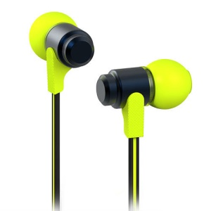 Wallytech WEA-116 Flat 3.5mm In-Ear Earphone Headphone for iPhone iPad iPod Samsung LG HTC - Black / Green