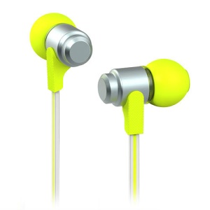 Wallytech WEA-116 Flat 3.5mm In-Ear Earphone Headphone for iPhone iPad iPod Samsung LG HTC - Silver / Green