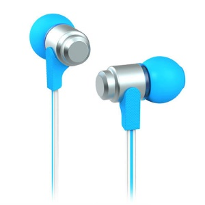 Wallytech WEA-116 Flat 3.5mm In-Ear Earphone Headphone for iPhone iPad iPod Samsung LG HTC - Silver / Blue