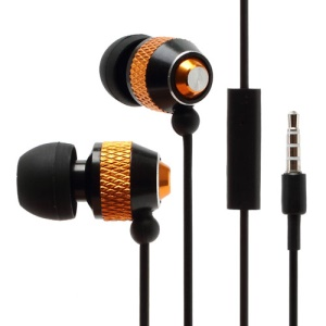 Wallytech WHF-081 In-Ear Stereo Metallic Earphone with Mic - Black / Gold