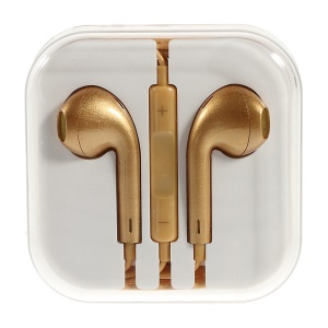 Gold Net 3.5mm Stereo Earbud Earphone Headset with Mic for iPhone iPad iPod - Gold