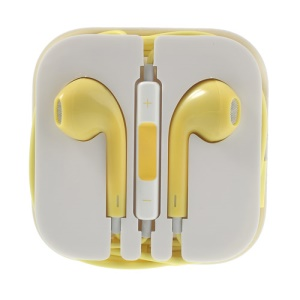 Silver Net 3.5mm Stereo Earphone Headset with Mic for iPhone iPad iPod - Yellow