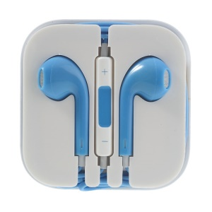 Silver Net 3.5mm Stereo Headset Earphone with Mic for iPhone iPad iPod - Blue