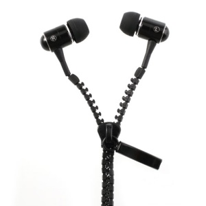 Black 3.5MM Tangle-Free Zipper Design In-Ear Earbud Earphone for iPhone iPad Samsung HTC LG MP3