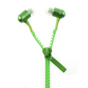 Green 3.5MM Tangle-Free Zipper Design In-Ear Earbud Earphone for iPhone iPad Samsung HTC LG MP3
