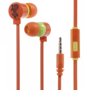 Kawaii Zebra 3.5mm Noodle Style In-ear Earbud Earphone with Mic for iPhone - Orange