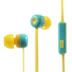 Noodle Style Two-color 3.5mm In-ear Earphone w/ Mic for iPhone iPod iPad - Blue / Yellow
