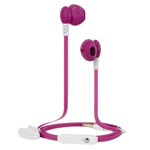 Langston iV-5 Noodle Shape 3.5mm In-ear Stereo Earphone Headset with Mic for iPhone - Rose