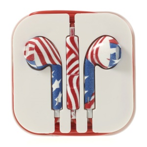 US Flag Pattern 3.5MM In-ear Earphone with Remote & Mic for iPhone 5s 5