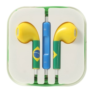 Brasil Flag Pattern 3.5MM In-ear Headset with Remote & Mic for iPhone 5s 5